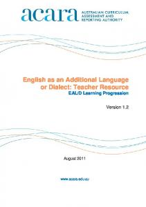 English as an Additional Language or Dialect: Teacher Resource