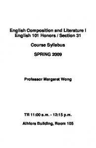 English Composition and Literature I English 101 Honors / Section ...