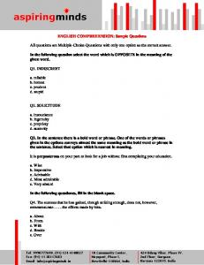 ENGLISH COMPREHENSION: Sample Questions ... - metallurgygce