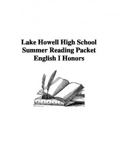 English I Honors - SSMS Summer Reading Assignments