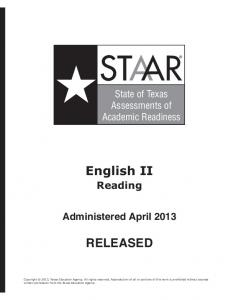 English II RELEASED - Texas Education Agency