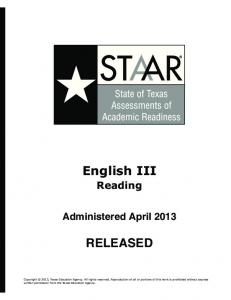 English III RELEASED - Texas Education Agency