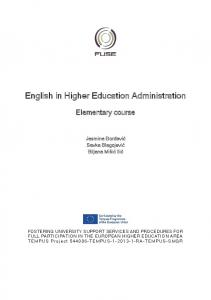 English in Higher Education Administration