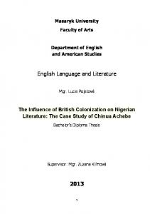 English Language and Literature 2013
