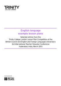 English language example lesson plans