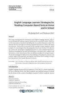 English Language Learners' Strategies for Reading