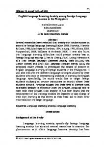English Language Learning Anxiety among Foreign Language ...