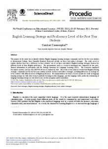 English Learning Strategy and Proficiency Level of ...