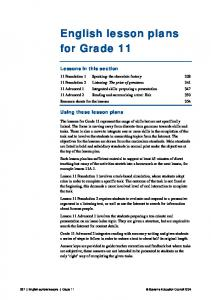 English lesson plans for Grade 11