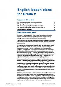 English lesson plans for Grade 2