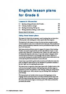 English lesson plans for Grade 6