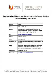 English national identity and the national football team
