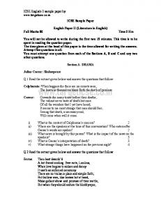 English Paper II Sample Paper - Target ICSE