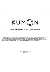 ENGLISH SAMPLE TEST QUESTIONS - Kumon UK - Maths