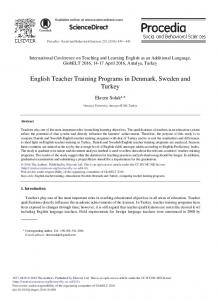 English Teacher Training Programs in Denmark, Sweden and ... - Eric