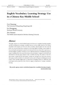 English Vocabulary Learning Strategy Use in a Chinese Key Middle ...