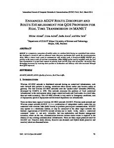 enhanced aodv route discovery and route establishment for ... - arXiv