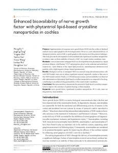 enhanced bioavailability of nerve growth factor