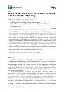 Enhanced Bioavailability of Tadalafil after Intranasal ... - MDPI