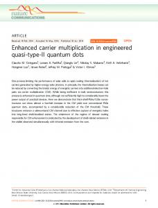 Enhanced carrier multiplication in engineered quasi-type-II ... - Nature