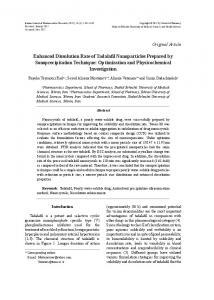 Enhanced Dissolution Rate of Tadalafil Nanoparticles Prepared by ...