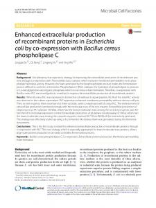Enhanced extracellular production of recombinant proteins in ... - Core