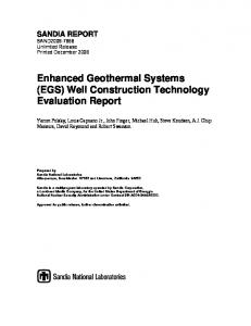 Enhanced Geothermal Systems (EGS) Well Construction Technology ...