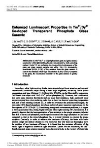 Enhanced Luminescent Properties in Tm3+/Dy3+ Co-doped ...