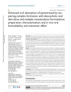 enhanced oral absorption of pemetrexed by ion- pairing complex