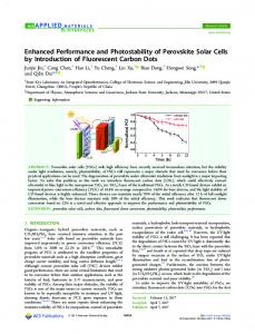 Enhanced Performance and Photostability of ... - ACS Publications