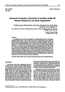 Enhanced Production of Surfactin by Bacillus ... - Semantic Scholar