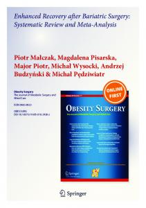 Enhanced Recovery after Bariatric Surgery