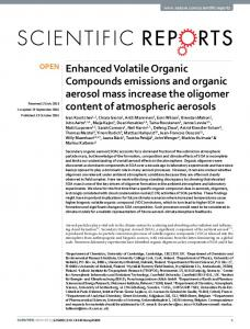 Enhanced Volatile Organic Compounds emissions and organic ...