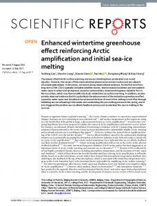 Enhanced wintertime greenhouse effect reinforcing Arctic ... - Nature