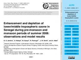 Enhancement and depletion of lower/middle tropospheric ozone - ACPD