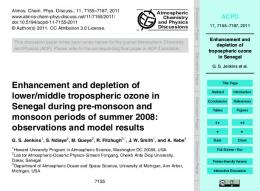 Enhancement and depletion of lower/middle tropospheric ozone in ...
