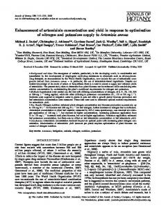 Enhancement of artemisinin concentration and yield in response to ...