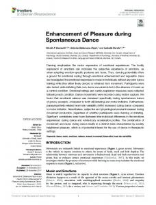 Enhancement of Pleasure during Spontaneous
