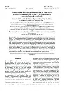 Enhancement of Solubility and Bioavailability of Quercetin by Inclusion