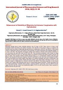 Enhancement of Solubility of Rilpivirine by Inclusion Complexation