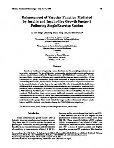 Enhancement of Vascular Function Mediated by Insulin and Insulin ...