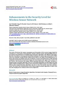 Enhancements in the Security Level for Wireless Sensor Network