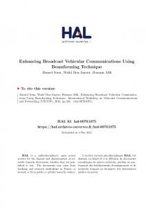 Enhancing Broadcast Vehicular Communications Using ... - Hal