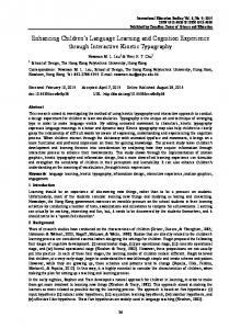 Enhancing Children's Language Learning and Cognition ... - Eric