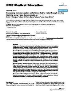 Enhancing communication skills for pediatric visits through on-line ...