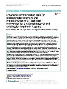 Enhancing communication skills for telehealth: development and ...