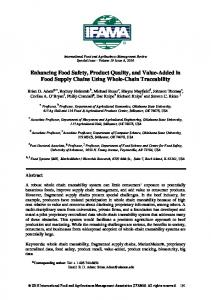 Enhancing Food Safety, Product Quality, and Value-Added in Food ...