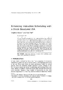 Enhancing instruction scheduling with a block-structured ISA