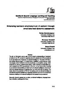 Enhancing learners' emotions in an L2 context through ... - Eric