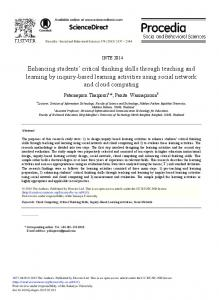 Enhancing Students' Critical Thinking Skills through Teaching and